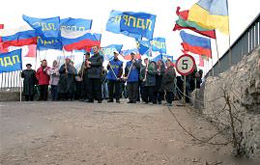 Transnistrians protest against the economic blockade imposed by Ukraine in March 2006